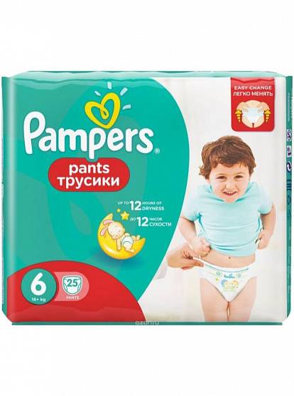 358423 PAMPERS PANTS S6 15 KG+ 25 PIECES 8001090414328
